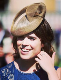 Nerida Fraiman - HRH Princess Eugenie in custom made gold millinery, Royal Ascot