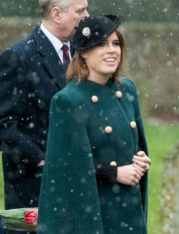Nerida Fraiman - HRH Princess Eugenie in daisy felt mini trilby, Christmas at Sandringham 2017