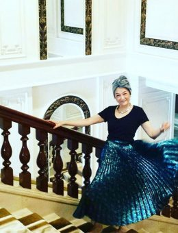 Nerida Fraiman - Hat Woman, Elizabeth Gomersall in silver lurex ruffle turban, Hong Kong 2018