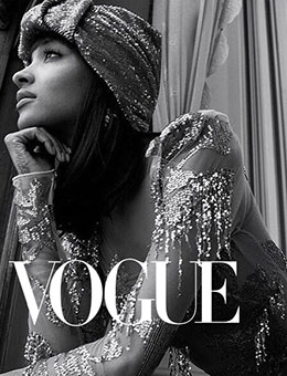 Nerida Fraiman - Jourdan Dunn in sequin turban, Vogue Arabia 2018