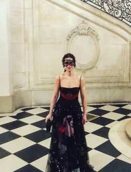 Nerida Fraiman - Sophie Goodwin in bespoke French lace mask, Dior Ball, Paris 2018