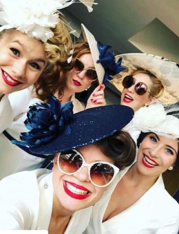 Nerida Fraiman - The Tootsie Rollers at Royal Ascot 2018 in navy and cream bespoke millinery