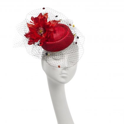 Nerida Fraiman - Siname straw pillbox with giant feather flower and fantasy multi-colour spot veil