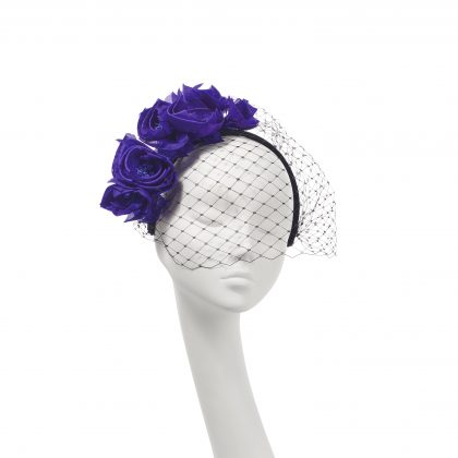 Nerida Fraiman - Side sweep flowers on velvet headband with classic millinery face veil