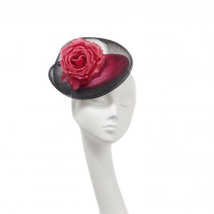 Nerida Fraiman - Coral and black crin swirl party hat with classic rose detail
