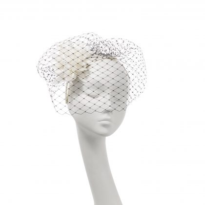 Nerida Fraiman - Hand cut feather flower teardrop on Alice band with classic millinery veiling