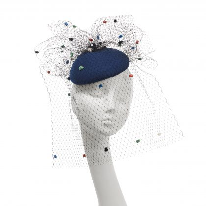 Nerida Fraiman - Wool felt structured beret in royal blue with multi-colour fantasy spot veiling