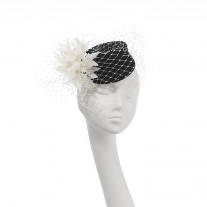 Nerida Fraiman - Cigarette Girl wool felt pillbox with classic millinery veiling and hand cut feather flower detail