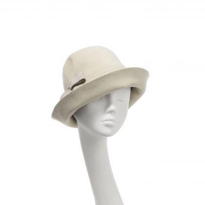 Nerida Fraiman - Luxury softest felt upbrim tuck cloche in alabaster with Petersham bow detail