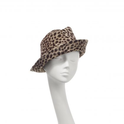 Nerida Fraiman - Ridge upbrim trilby in sumptuous luxury felt animal print