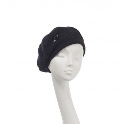 Nerida Fraiman - Angola lined beret with chiselled hatpin detail