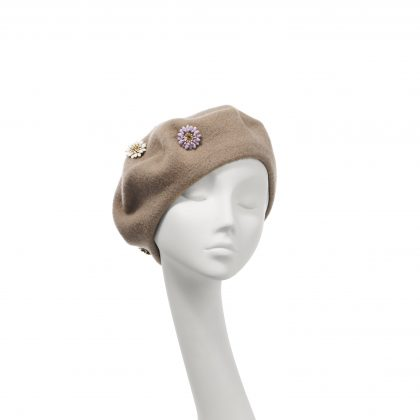 Nerida Fraiman - Pure wool beret in camel with multi-colour hand stitched flower jewels