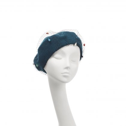 Nerida Fraiman - Double layer pure wool beret in teal and spot veil