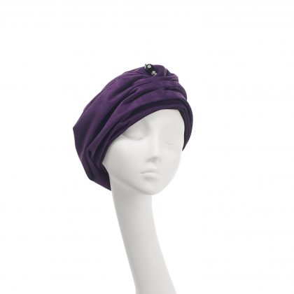 Nerida Fraiman - Suede Mounira gather front beret turban with chiselled hatpin