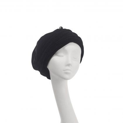 Nerida Fraiman - Velvet Mounira gather front beret turban with chiselled hatpin