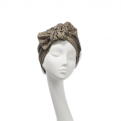 Nerida Fraiman - Pure cotton Ava turban with layered spot tulle in camel and black