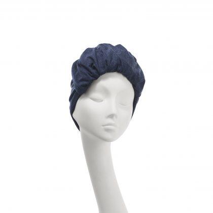 Nerida Fraiman - Navy roll front Elizabeth turban in stretch wool jersey