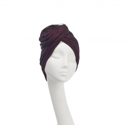 Nerida Fraiman - Layered wool jersey and spot tulle Rose everyday turban in burgundy and black