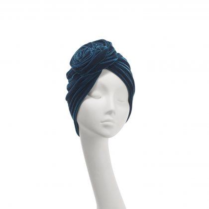 Nerida Fraiman - Stretch velvet Rose turban in teal