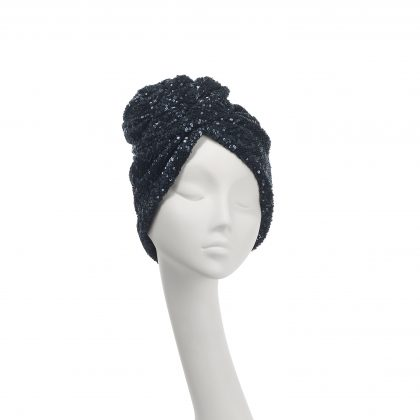 Nerida Fraiman - Navy blue Rose turban in pleated sequin stretch fabric