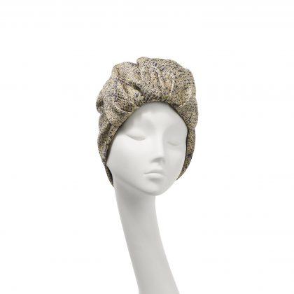 Nerida Fraiman - Dressy roll front Elizabeth turban in gold print weave