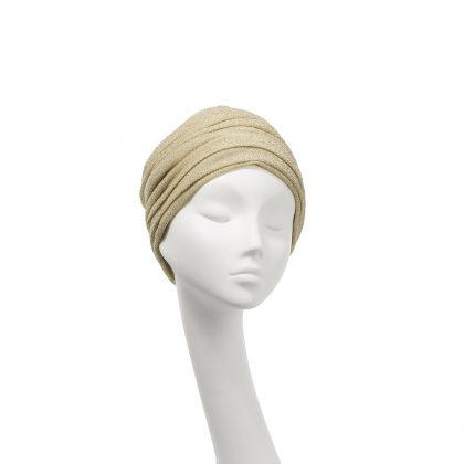 Nerida Fraiman - Classic Aisha turban in moondust pale gold lurex