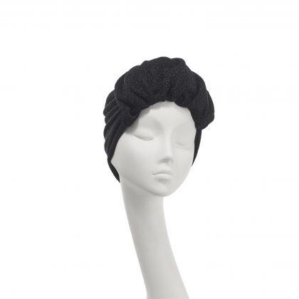 Nerida Fraiman - Roll front Elizabeth turban in moondust black lurex