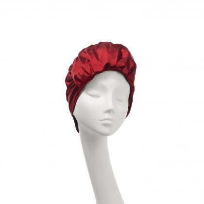 Nerida Fraiman - Roll front Elizabeth turban in scarlet silk Dupion