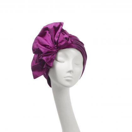 Nerida Fraiman - Dramatic statement Carmen turban in fuschia silk Dupion