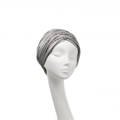 Nerida Fraiman - Layered spot tulle gathered Aisha dress turban in ivory and black