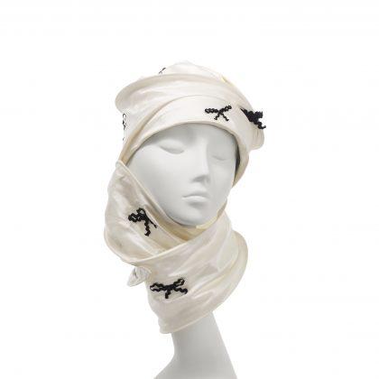 Nerida Fraiman - Multiway wrap hijab in bias-cut silk Dupion with hand sewn bow details
