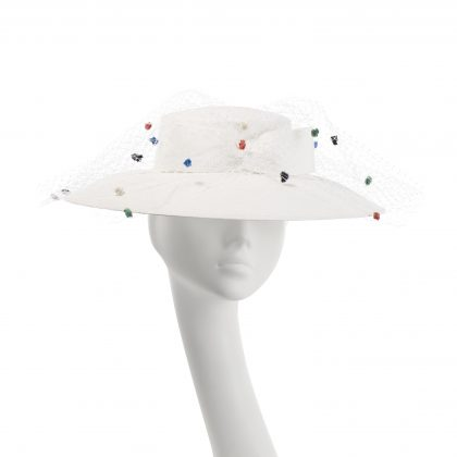 Nerida Fraiman - French white paper straw down brim picture hat with petersham trim and fantasy spot veil