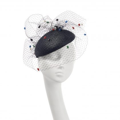 Nerida Fraiman - Structured black paper straw beret with gathered fantasy spot veil and chiselled hatpin