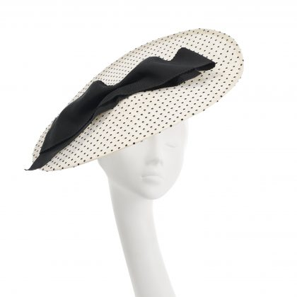 Nerida Fraiman - Spot tulle disk Royal Ascot hat with mini rickrack edging and vintage grosgrain bow