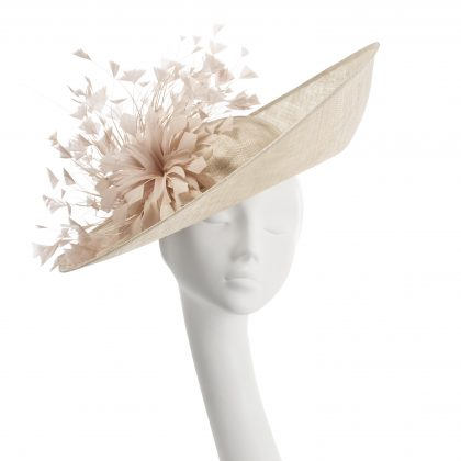 Nerida Fraiman - Camilla upbrim wedding hat in nude siname with diamond-cut feather fan and flower detail