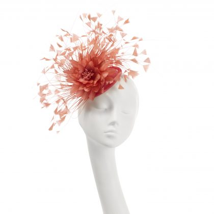 Nerida Fraiman - Royal Ascot bright coral diamond-cut feather fan and flower on mini disk
