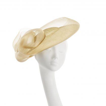 Nerida Fraiman - Sculpted infinity swirl wedding hat in biscotti