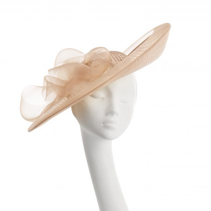 Nerida Fraiman - Sculpted swirl Ascot statement hat in siname check and classic crin