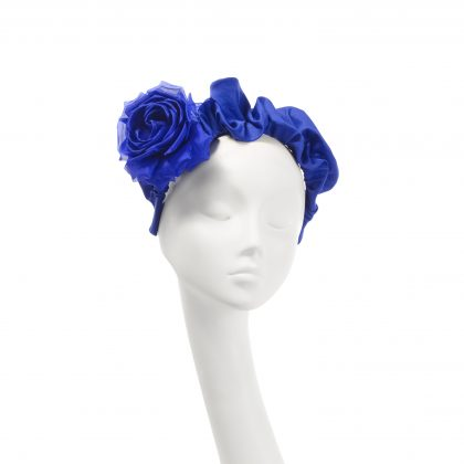 Nerida Fraiman - Pure cotton ruffle party flower headband in emperor blue