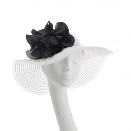 Nerida Fraiman - Soft stripe crin wide brim picture hat with giant black poppy