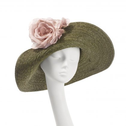 Nerida Fraiman - Khaki pedal straw picture hat with wild rose detail