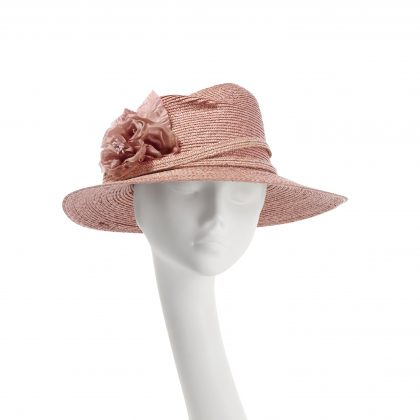 Nerida Fraiman - Asymmetric pedal straw fedora with double wrap trim in dusky rose