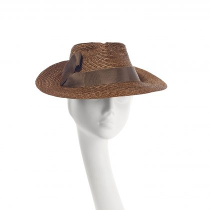 Nerida Fraiman - Chocolate pedal straw trilby with underbrim petersham ribbon detail