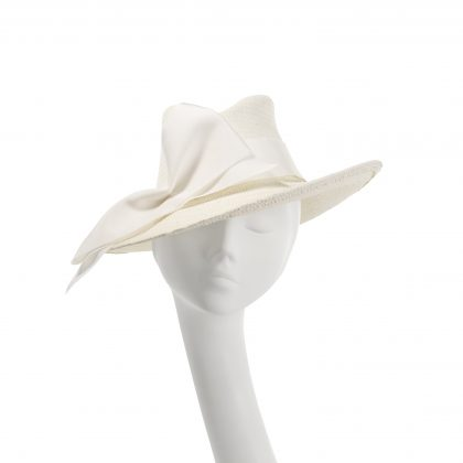 Nerida Fraiman - Dramatic paper straw Hollywood trilby in ivory with vintage grosgrain trim