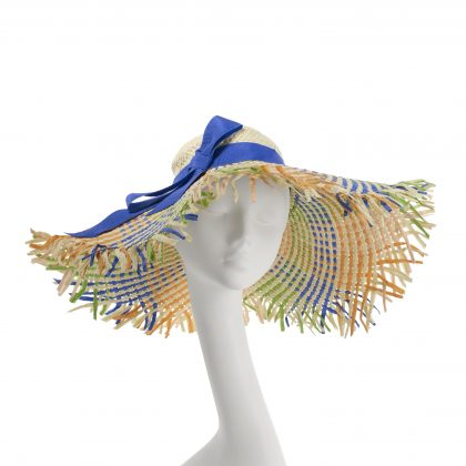 Nerida Fraiman - Multicolour woven straw oversize Boho sunhat with Moroccan Sky petersham trim