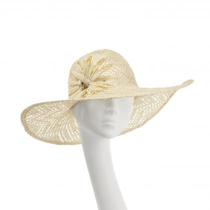 Nerida Fraiman - Classic sunhat in triangle weave natural straw with raffia flower and honey bee detail