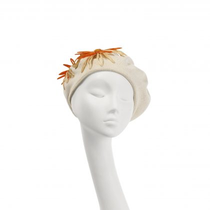 Nerida Fraiman - Pure cotton classic summer beret with hand-stitched raffia daisies