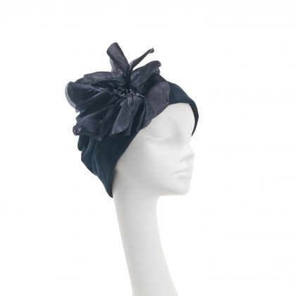 Nerida Fraiman - Pleated Japanese pure cotton beanie in navy with giant poppy