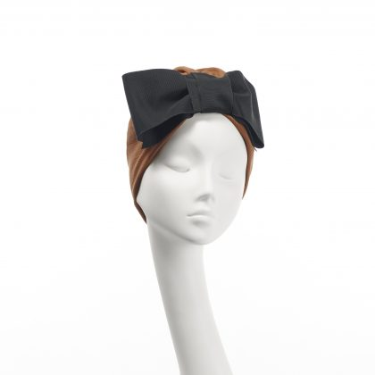 Nerida Fraiman - Pleated Japanese pure cotton turban in cinnamon with vintage grosgrain bow