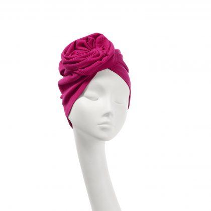 Nerida Fraiman - Pleated Japanese pure cotton Rose turban in fuchsia